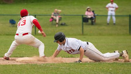 Ryan Hackel, sliding in, came in to pitch five innings in the second game and conceded just one run.