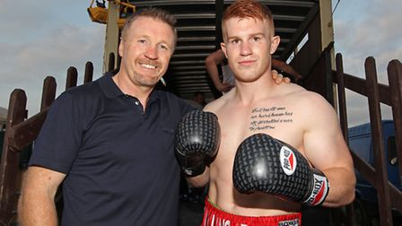 Former WBO middleweight and super-middleweight champion Steve Collins with son Steve Collins Jnr