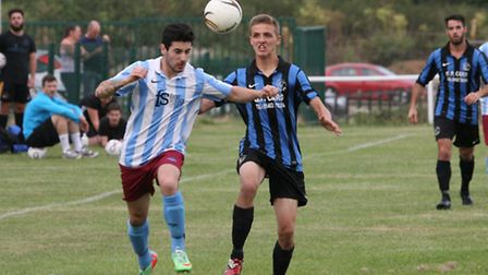 Action from London Colney's 4-3 win over Letchworth Garden City Eagles. Picture: Jim Whittamore