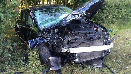 One of the vehicles involved in a crash on the A141 at Warboys.