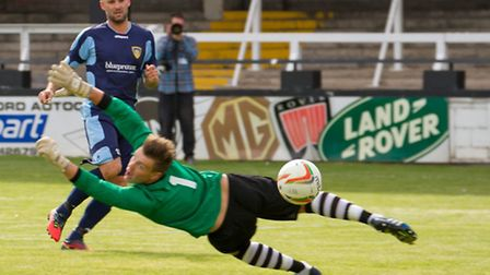 Matt Nolan opens the scoring for St Neots. Picture: CLAIRE HOWES