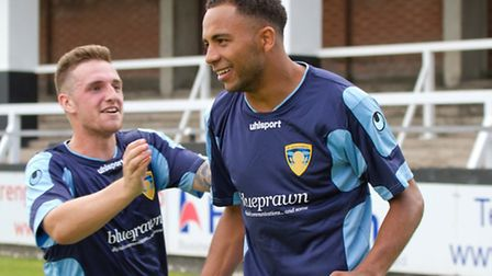 Nathan Frater is congratulated after scoring the victory-sealing goal over Hereford. Picture: CLAIRE