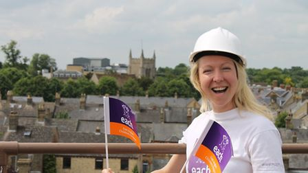 Jo Colbert, EACH partnerships manager for Cambridgeshire and North Essex, at the top of the tower in