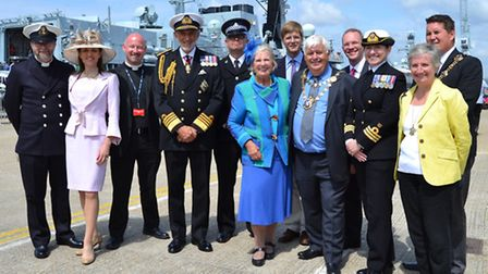 Local dignitaries attended the rededication ceremony of HMS St Albans, held in Portsmouth
