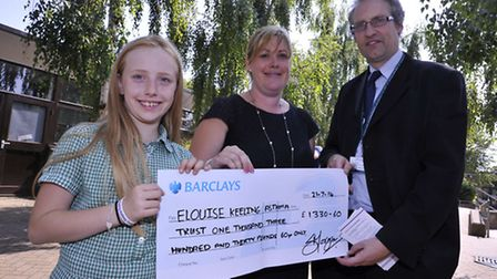 Hinchingbrooke School pupils handed over a cheque for The Elouise Keeling Asthma Trust, (l-r) Jessic