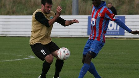 Action pictures from London Colney's 2-1 FA Cup win over Maldon and Tiptree. Picture: James Whittamo