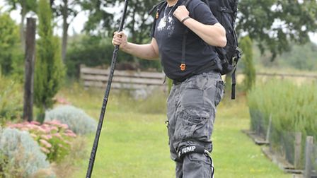 St Ives resident Chris Dowers, who is walking from St Ives to Great Ormond St Hospital on stilts in