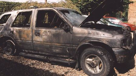 Huntingdon Life Science demonstrations, employees cars burnt out, in Godmanchester. 2000