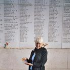 Author Jean Handley during a visit to the Menin Gate in Ypres, Belgium