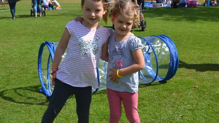 Youngsters Mia and Maisy enjoy their day at Priory Memorial Gardens