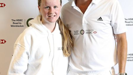 LONDON, ENGLAND - AUGUST 11: Tim Henman with Katie Birt during the HSBC Road to Wimbledon on August