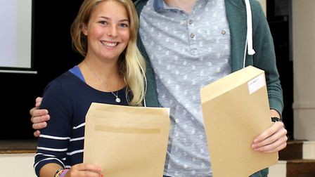 Sir John Lawes' head girl and head boy are happy with their results