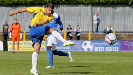 John Kyriacou fires the ball at goal. Picture: Leigh Page