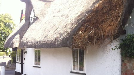 The thatched property in Offord Cluny which was attacked by arsonists.