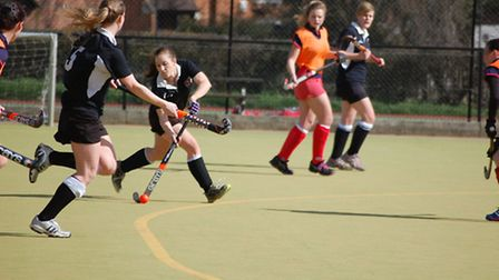 Action from the ladies' 1sts' win over City of Peterborough.