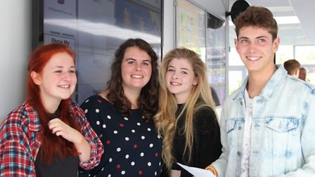 Louisa Gard, Chloe Piper, Caitlin Vann and Oliver Neagus with their results at Freman College