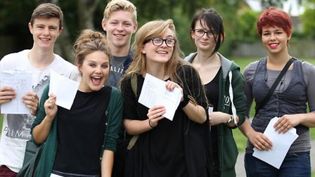 Marlborough Science Academy students with their A Level results