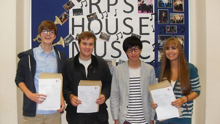Pictured at Roundwood Park School, from left, are Rob McKenzie, Michael Lacey, Kevin Xu and Katie Ne