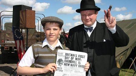 Jarvie Richie, 12, from Ayrshire, and Alan Kempton as Winston Churchill