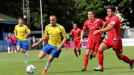Elliott Buchanan in action against Hayes and Yeading. Picture: Leigh Page