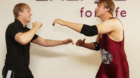 Energie Gym instructor Callum Hill and his wrestling alter-ego Jonathan Hardwick face off in the Ene