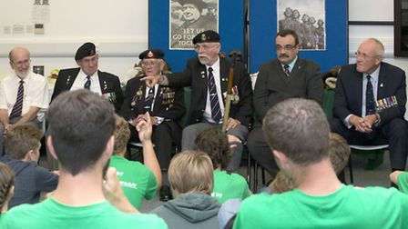 The veterans address the American visitors at Duxford