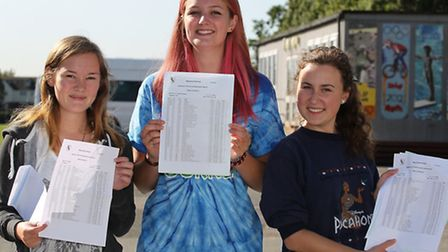 Beaumont School pupils Kira Pattenden, Eliza Llewellyn and Daria Abaza with their GCSE results