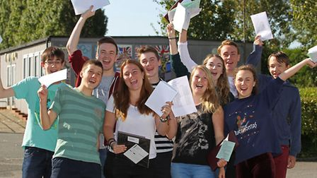 Beaumont School pupils celebrating their results