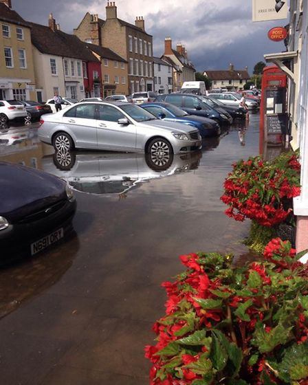 Kimbolton High Street floods affected several businesses. Photo by Rebecca Mehew