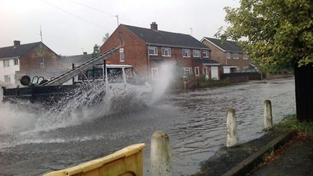Flooding in Tudor Road, Godmanchester. Picture: Nigel Pauley