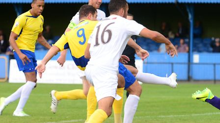 John Frendo scores a late goal for St Albans City. Picture: Bob Walkley