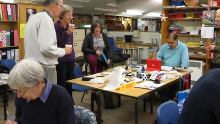 Members of St Ives Art Group at one of the meetings at Wheatfields School.