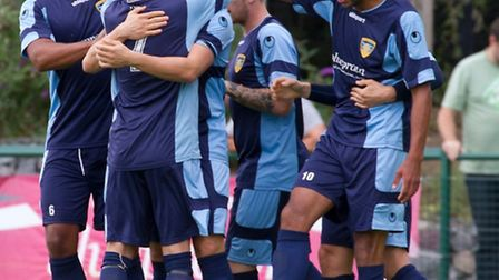 St Neots celebrate Arthur Lee's (centre) opening goal against Weymouth.Picture: CLAIRE HOWES