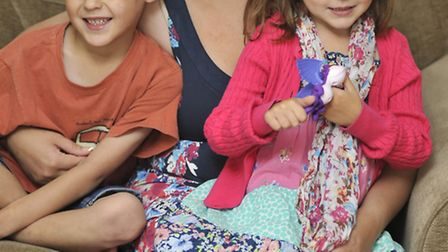 Sophie Morris, with her children from left, Cian and Rhea Smythers.