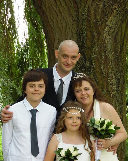 (From l-r) Luke and Tamar McAdie with Peter Edwards and mum Julie Edwards