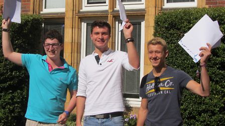 St Columba's College's Ben Moore, Thomas Stewart and Miles Vivian have been celebrating their GCSE r