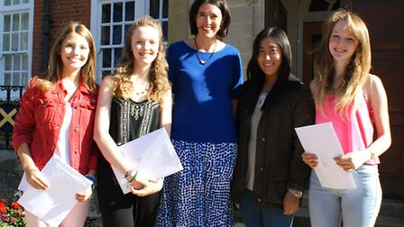Students at St Albans High School for Girls celebrated their results this morning with new headmistr