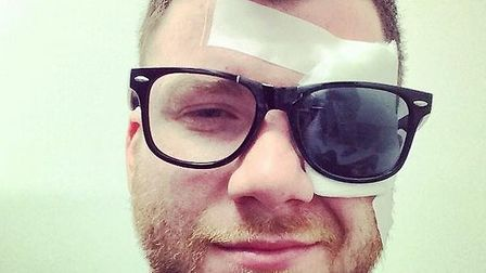 Rory Clewlow of St Albans band Enter Shikari had his eye injured in an unusual accident