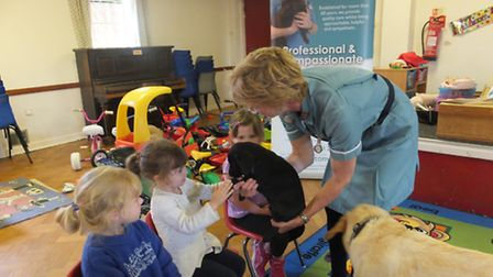 Margaret White introduces the pre-school children to one of the puppies