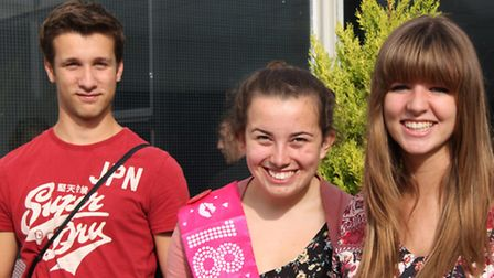 Adam Greenhill, Grace Handley and Megan Eustace on results day,