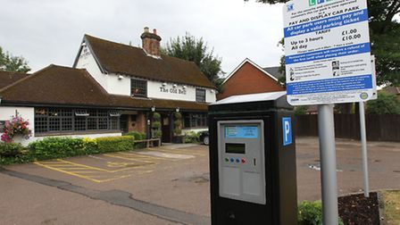 The parking ticket machine in the car park for The Old Bell in Harpenden
