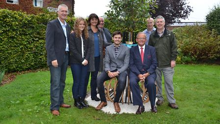 Mr Hoare and Will Collier (seated) at the installation of the garden seat