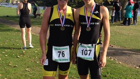 15 year old Oliver Wood and His coach Andy Matson with their well-earned medals