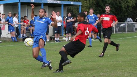 Action from London Colney's loss to Hadley. Picture: James Whittamore