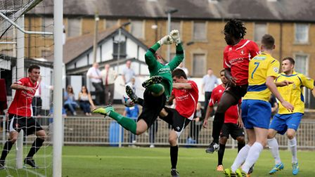 The Saints go close as the ball flies across the Hayes and Yeading six yards box. Picture: Leigh Pag