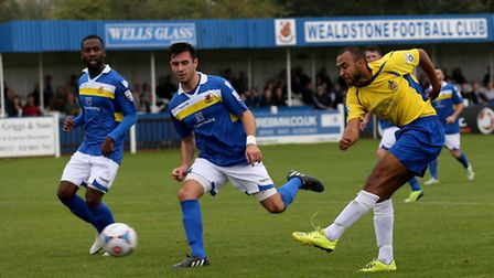 James Comley has a shot at goal. Picture: Leigh Page