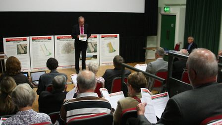 Rod Bluh addresses residents at Monday's meeting in the Royston Picture Palace community cinema