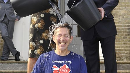 Jonathan Djanogly took on the ice bucket challenge with the help of HDC corporate support officer An