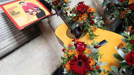 """An Elvis themed arrangement called """"Jailhouse Rock"""" on show at the Cathedral Flower Festival"""