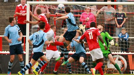 Charlie Sheringham scoring Ebbsfleets first of the afternoon